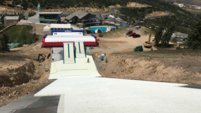 View looking down slope at in-run ski jump at Utah Olympic Park in Park City, UT