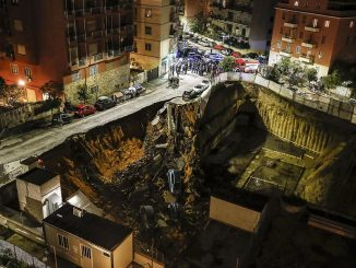 Excavation shoring retaining wall failure in Rome swallows 6 cars