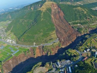Earthquake-induced landslide in Japan in April 2016