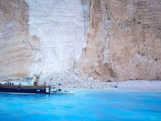 September 2018 Cliff Collapse at Navagio beach on the Greek island of Zakynthos. REUTERS via BBC