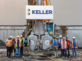 The Keller crew in front of the cutter head just after completing the last CSM panel at Platform.