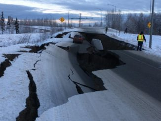 Alaska Highway damaged by magnitude 7 earthquake