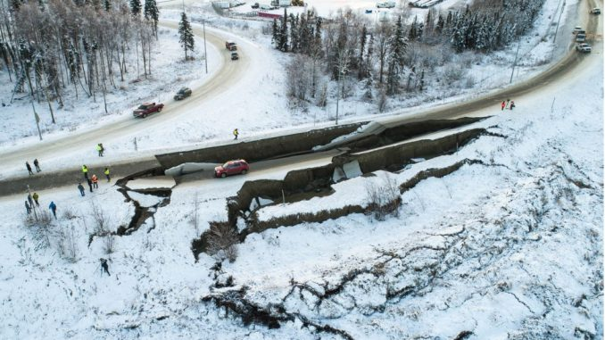 Minnesota Boulevard embankment failure from 2018 Anchorage Earthquake