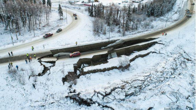 Minnesota Boulevard embankment failure from 2018 Anchorage Earthquake