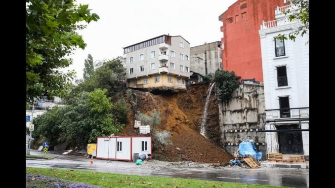 Retaining wall collapse in Istanbul