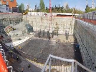 19m deep, 5-story excavation in Tirana, Albania