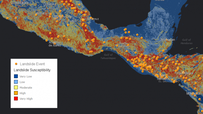 COOLR landslide points (in orange) and NASA landslide susceptibility (blue = low susceptibility, red = high susceptibility), in Central America. Image by NASA.