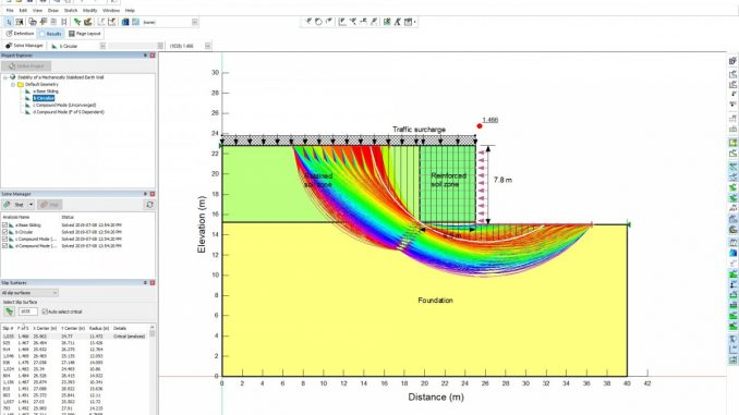 Overall stability of a mechanically-stabilized-earth (MSE) wall analyzed using GeoStudio