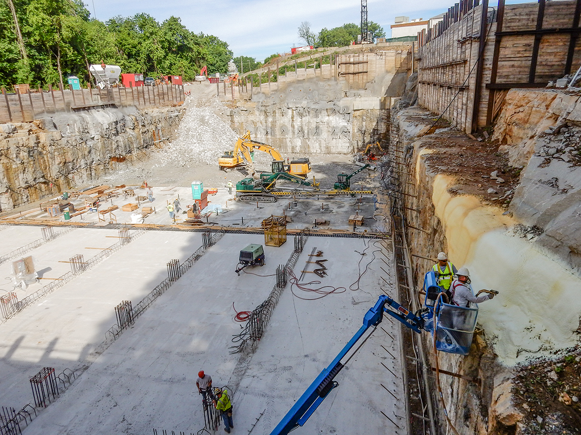 NCFI TerraThane geotechnical polymer used at an overflow facility in Louisville, KY