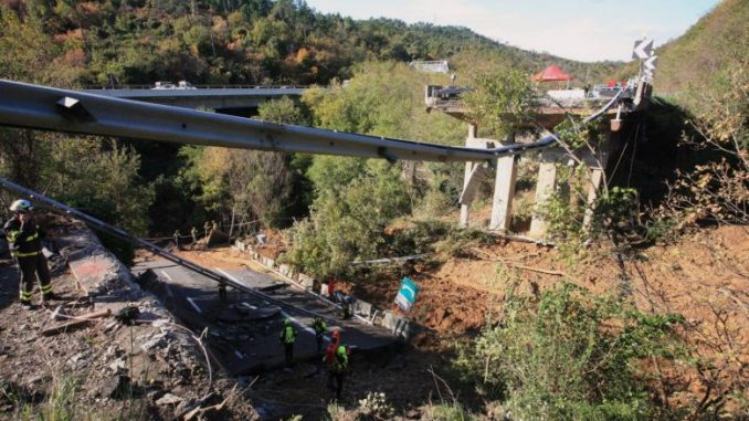 A6 motorway bridge destroyed by a landslide or debris flow in Italy