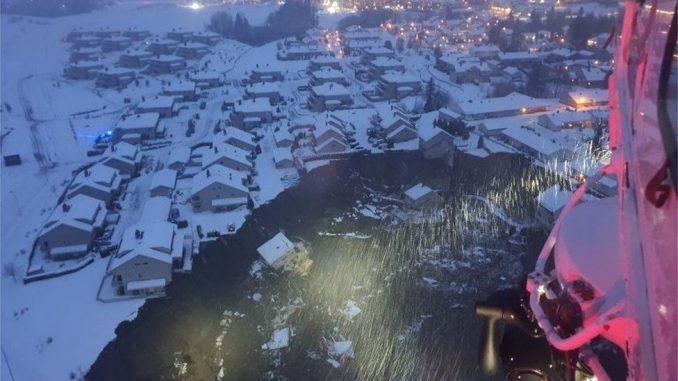 Quick clay landslide in Gjerdrum, Norway