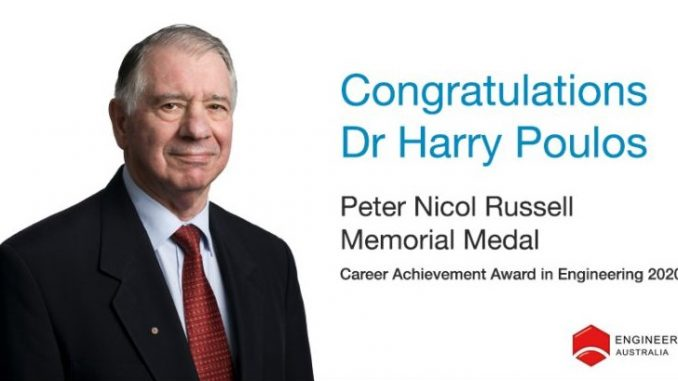 Dr Harry Poulos awarded the Peter Nicol Russell Career Achievement Memorial Medal