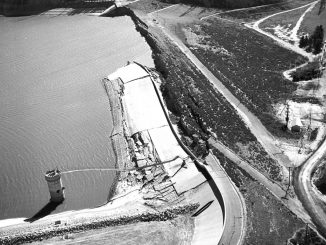 Damage to Lower Van Norman Dam from 1971 San Fernando Earthquake