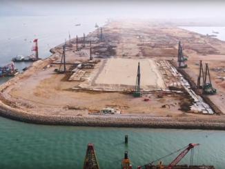 Ground improvement work at Hong Kong International Airport in November of 2020
